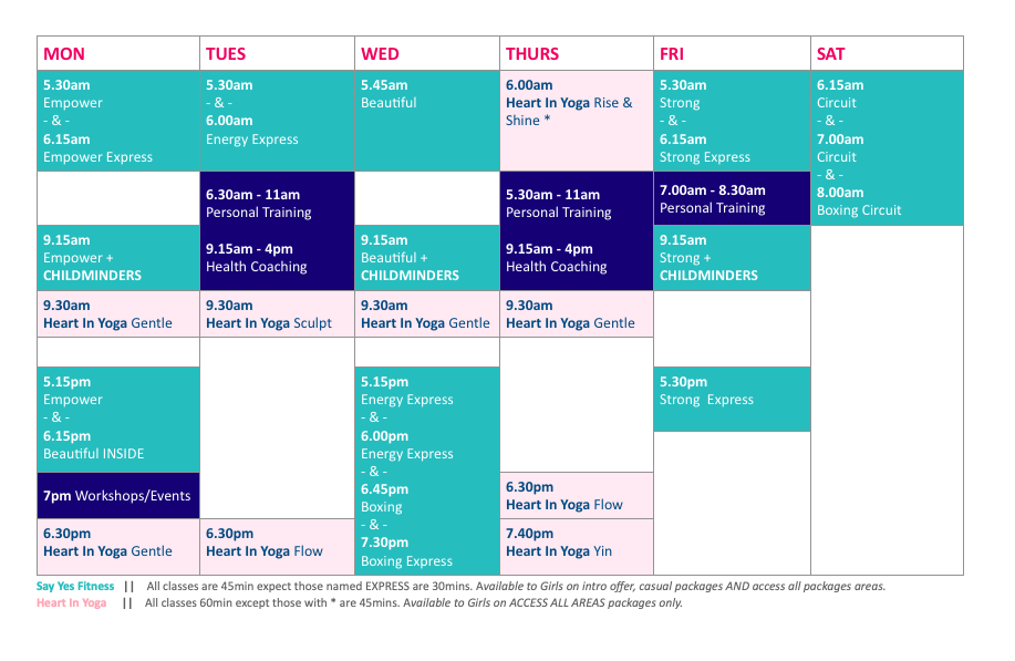 Say Yes Group Fitness Timetable